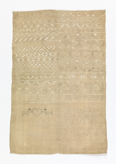 Vertical rectangle of white linen divided into two colums by a row of hemstitch; embroidered in white in bands of geometric and floral pattern at the top, and a heart containing the date and initials in the lower right.