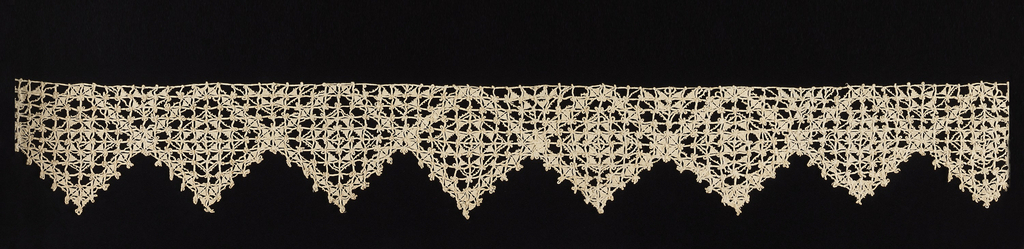 Reticella border with design of crossing diagonal lines forming lozenge shapes on ground of small squares.