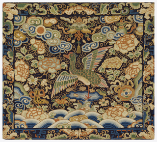 Mandarin square (P'u tzu) for civil official of the seventh rank. Embroidery in Pekin stitch and couching showes a mandarin duck surrounded by cloud and water forms and by symbols. Colored silk embroidery on black satin.