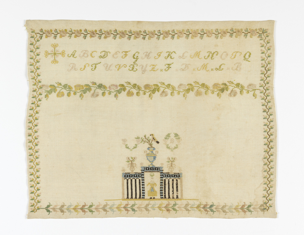 "Floral borders surrounding the alphabet and initials ""F. D. M. L.""; scenes showing a woman in a gate with vases of flowers, a bird, and a wreath with the initial ""B""."