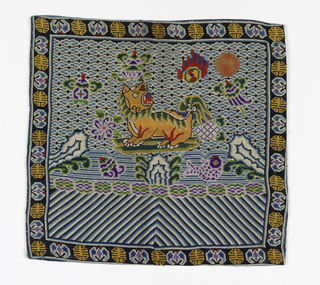 Mandarin Square (P'u-Tzu) for military official of the second rank. Lion on a rock surrounded by wave and cloud forms as well as the Eight Auspicious Signs, worked in a tent stitch. Border of Chinese character alternating with bat motif. Lined with linen.