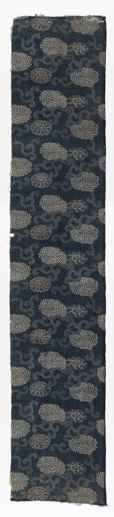 Length of stencil resist (katazome) with ivory pattern on blue dotted ground. Three different full-face flowers and dotted tendrils.
