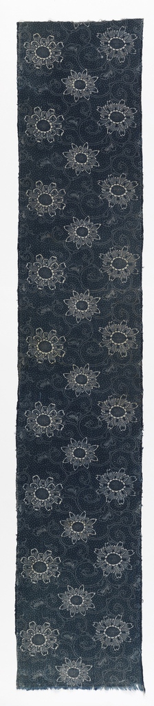 Length of stencil resist (katazome) showing ivory pattern on blue ground with dots. Flowers with similar centers and varying shaped radiating petals and curling stems.