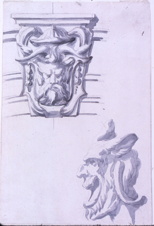 Above, the keystone with two escutcheons, the uppermost with a bearded mask with horns and donkey's ears. Laterally, the cornices of an entablature. Below, a similar mask with open mouth, seen in profile.