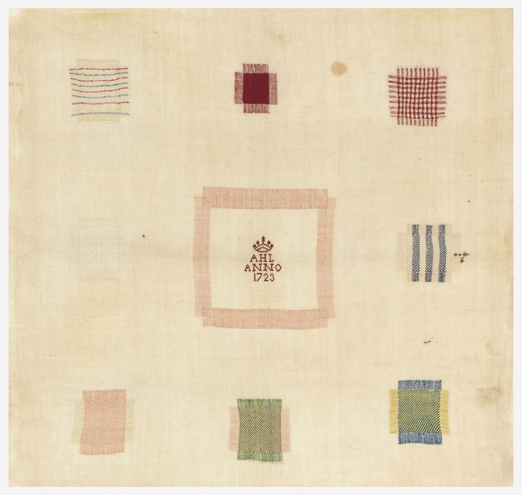 Small square sampler with nine squares of pattern darning. In the center square, where the foundation fabric has been cut away and then replaced, a crown and the inscription  A.H.L.  Anno 1723 has been embroidered in red cross stitch. The other eight squares demonstrate four twill and chevron variations, three plain weave variations, and one knitted pattern.