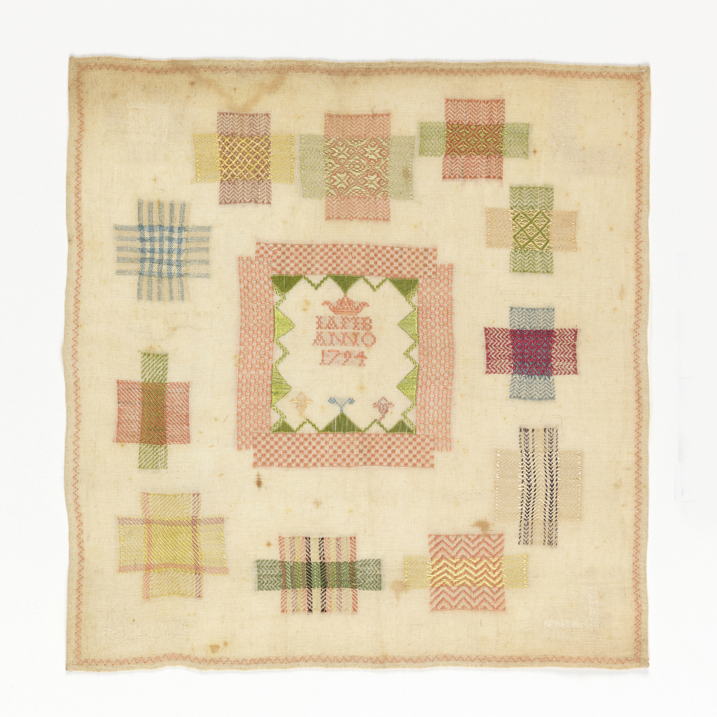 """Fifteen samples of darning arranged around central square with initials """"L A M B"""" """"ANNO"""" and the date """"1794""""."""