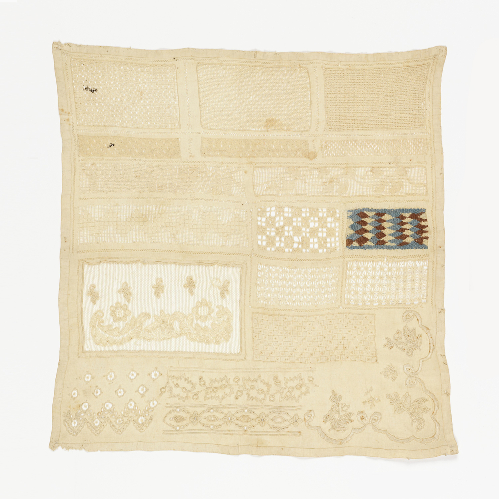 Twenty patterns worked in drawnwork, cutwork and embroidery. Geometric and floral patterns.