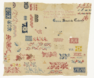 "Portions of border designs, alphabets, verse and signature ""Luisa Sauri de Colome."" Worked in cross stitch."