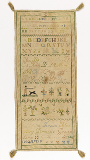 "Rectangular embroidery sampler with tassels at the four corners and three bands of different instances of the alphabet. Below the alphabet is one band showing a human (hunter), dog, flowers, house, and bird and another band of flowers. At the bottom the piece reads: ""Lo Hizo Teresa Alvares y Gimenez Grazalema 22 de Febrero de 1854"" Translation: ""Made by Teresa Alvares y Gimenez Grazalema February 22, 1854"""