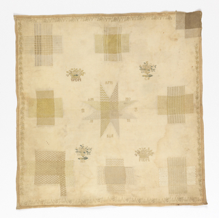 Darning sampler, very faded, with eight square holes filled with pattern darning in various weaves, and one corner tear.