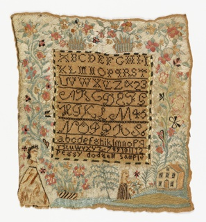 The center field contains bands of alphabets and numerals embroidered in black with the inscription Peggy Dodges Sampler. A wide border contains flowering plants, baskets of flowers, butterflies, female figures, and a house in a landscape, embroidered in many colors and with the ground fabric completely covered.