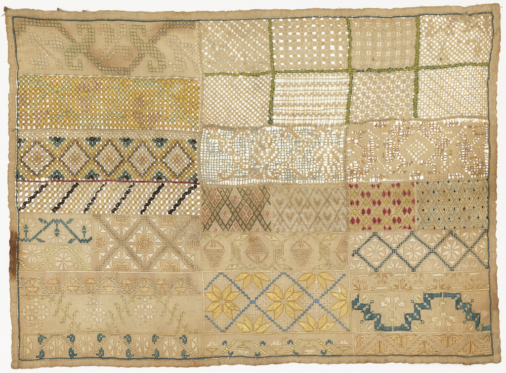Grid of rectangular bands and squares, each embroidered in stylized floral motifs, geometric patterns, or needle-lace fillings.