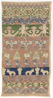 Band of pattern, some with figures. Double-headed eagle, hand of Fatima, camels, deer, bulls, and birds.
