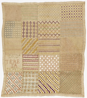 Sampler divided into twenty squares, nineteen with small geometric patterns and one with the inscription.