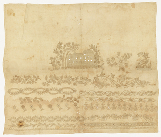 Unfinished whitework sampler with a house in the center and bands of floral pattern below.