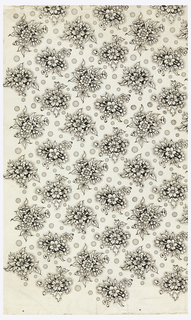Floral design of cover paper comprised of pattern of bunches of flowers and leaves. In between the bunches of flowers are circles of various sizes with stippling in the center of the circles and around the bunches of flowers.