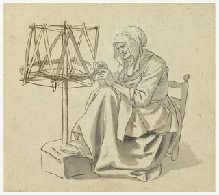 Drawing, An Old Woman Spinning