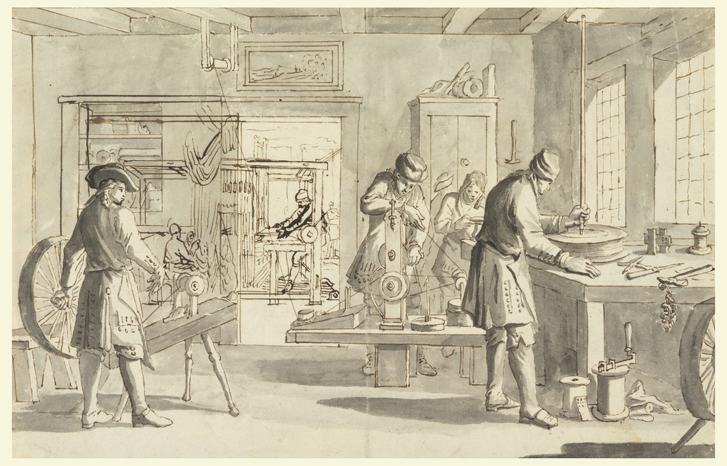 Three workmen move the wheels of engines manufacturing threads. A fourth man hammers something on a small anvil. A fifth is shown from the rear. View through the door opening of a man at a loom and another carrying something in a rear room. At left of door originally suggested was a wall and niche with three shelves. Later, a broadening of the door opening and of the view into the rear suggested. Two persons work on a curtain. The niche is to be moved to the rear wall.