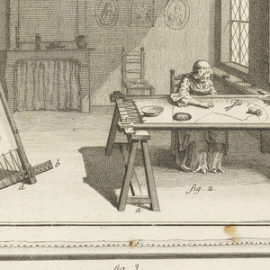 Drawing divided into two registers. In top register, a scene of two women weaving fabric in a room. On the left, a woman weaves at a loom and looks out at the viewer. The woman on the right sits at a table looking at fabric patterns. In the bottom register, depictions of tools and embroidery patterns labeled with figure numbers.