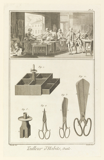 Print, Tailleur d'Habits, outils, from Diderot's Encyclopaedia