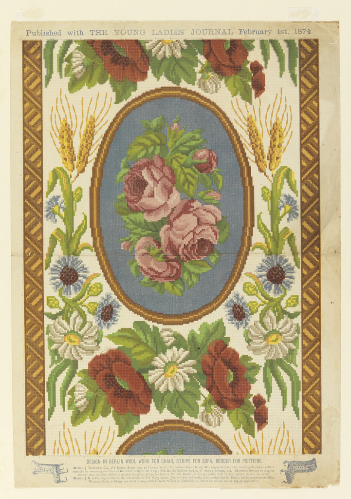 Vertical sheet illustrating a design for knotted berlin work that depicts a repeated oval of mauve roses on a teal blue ground.  Between the ovals are sprays of white flowers with yellow centers flanked by russet flowers and greenery.  Framing the ovals are additional white and blue flowers with small golden plants that are possibly sheaves of wheat.  The entire composition is on a white ground with two parallel borders of altnerating golden and brown stripes. A publication title is at the top, and details about the design and where to obtain materials for it are located in the bottom margin. The paper also had a grid-like impression that gives it the texture of canvas.