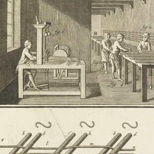 Upper register, interior of a factory, showing combing and weaving. Lower register, various tools, letter, with a scale, lower right.