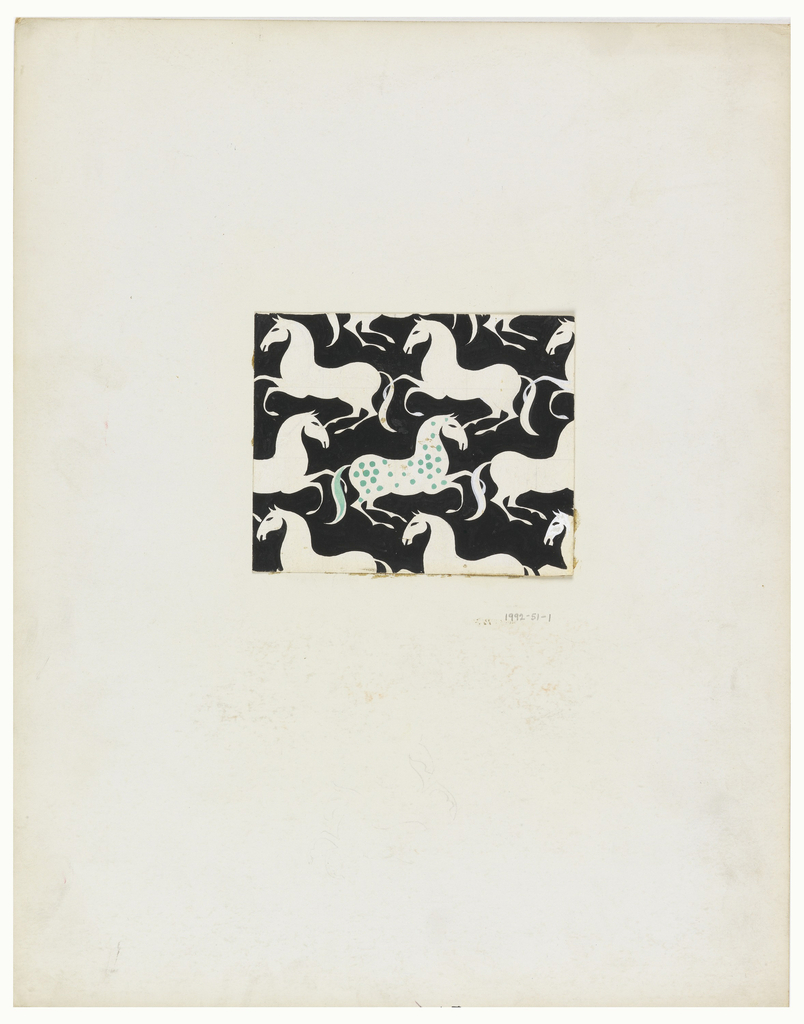 Black background, white galloping horses; spotted body and tail of center horse in aqua-green.