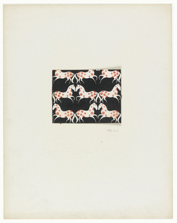 On black background, galloping horse pattern in white with red spots.