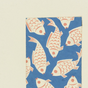Whimsical fish design on marine blue background, fish painted white with coral-colored scales.