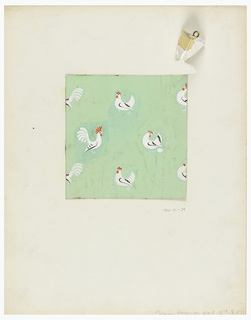 Pale green background with pattern of scattered white hens and roosters, egg at feet of hen, right center.