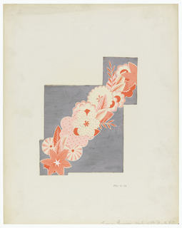 On irregularly-shaped paper, grey background with diagonal, floral garlands painted in coral, pink and white.