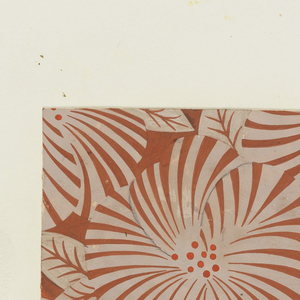 Stylized flower and leaf design in white with orange center, on rust background.