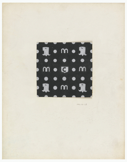 On black background, a Mark Cross logo pattern consisting of lower case M's and C's, dots and chess-horse heads in white.