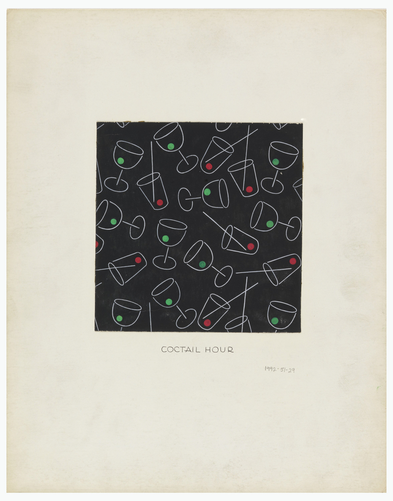 """Drawing, """"Cocktail Hour,"""" Textile Design"""
