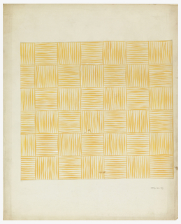 Basket weave pattern consisting of forty-two squares, alternating vertical and horizontal lines painted in ochre on a cream background.