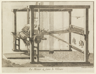 Man working on a loom.