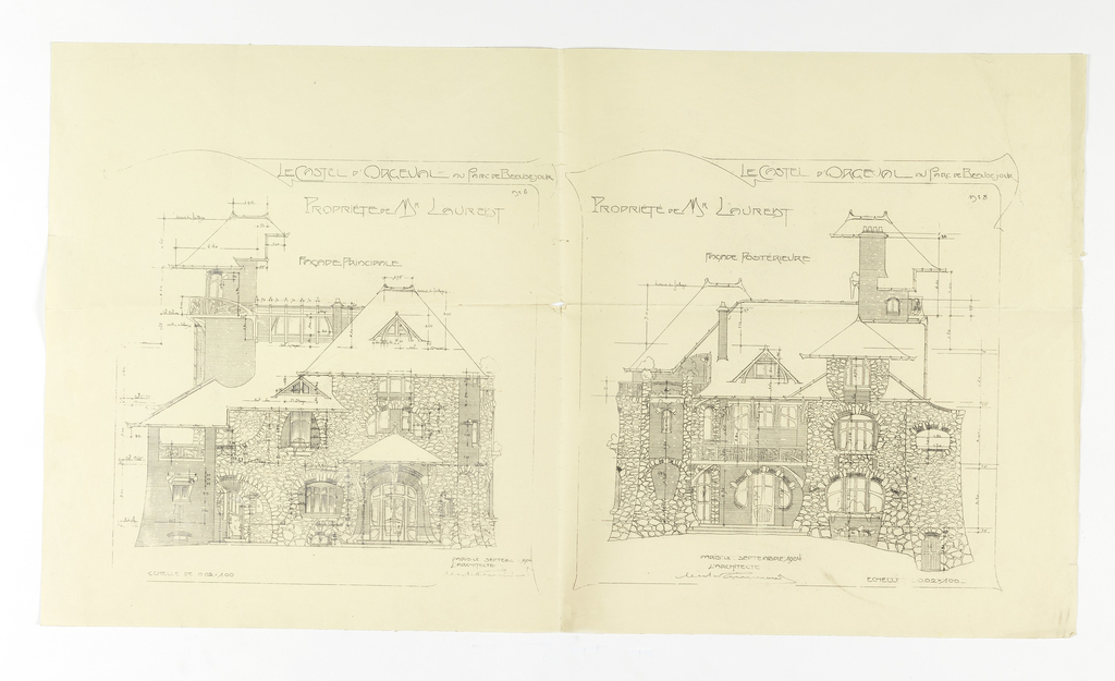 Elevation plans for the Castel d'Orgeval, Parc Beausejour. The design on the left depicts the front of the building, and the right depicts the rear. Scale is noted throughout both drawings.