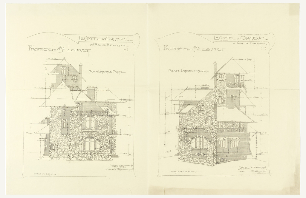 Elevation plans for the Castel d'Orgeval, Parc Beausejour. The design on the left depicts the right side of the building, and the right depicts the left side. Scale is noted throughout both drawings.
