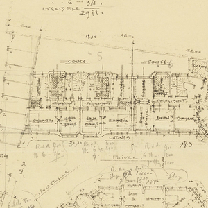 Building interior design for a housing estate. Drawing details the placement and fuction of rooms throughout the buildings. Scale noted throughout drawing.