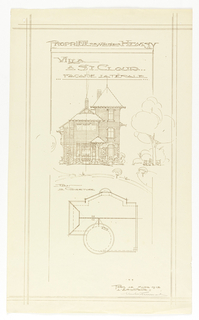 Elevation plan of the side view of the Villa of Monsieur Hemsy at St. Cloud. Outside of the house are suggestions of vegetation and a figure seated on a bench. Below the design of the side of the house is a scheme for the view of the rooftop.