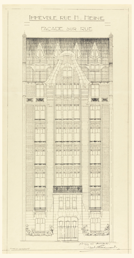 Design for the principal facade of a 7 and an half floor apartment building on Rue Heine. The building's middle panel is triple fenestrated, and the two side panels are singularly fenistrated. Scale noted throughout design.