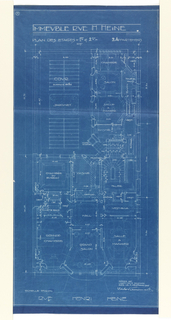 Floor plan for the first and second floors of the apartment building on Rue Heine. Plan shows layout of rooms as well as an open space designed with a small garden. Rooms labelled with functions and scale noted throughout design.