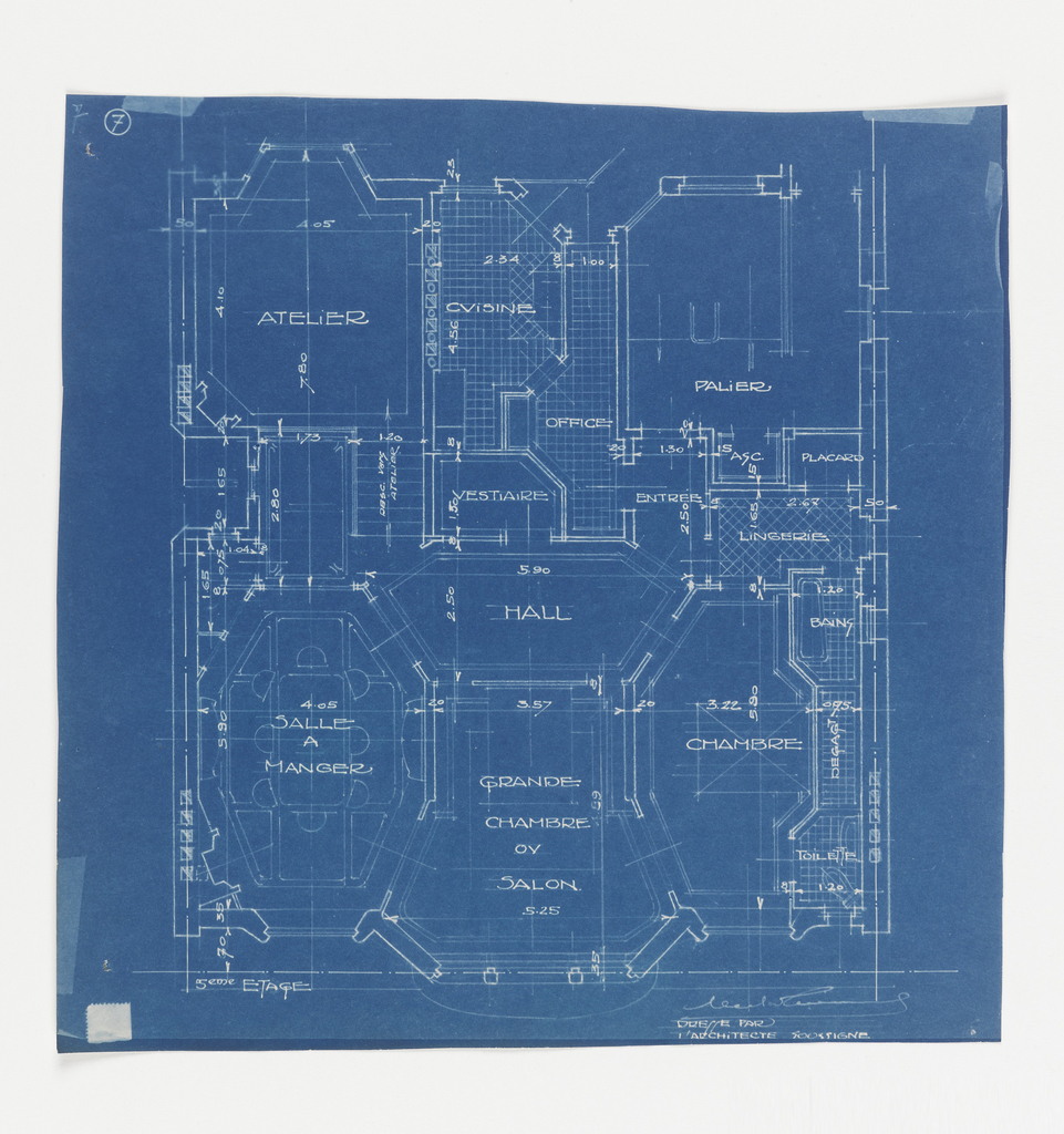 Blueprint apartment house rue heine plan du 5e etage 1925 floor plan for the 5th floor of the apartment building on rue heine function of malvernweather Gallery