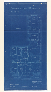 Floor plan of the 7th floor in the apartment building on Rue Heine. Function of rooms and scale noted throughout the drawing.