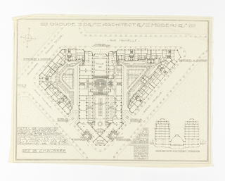 Design for lodgements of visitors for the 1925 Paris exposition. The design shows the different living quarters for guests as well as function rooms. Rooms labelled and scale noted throughout design.