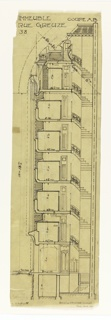 A diagram of a cross section of the building on Rue Grueze. The Cross section shows the 7 and a half story building as well as the staircase leading to each floor and the basement. Function of rooms and scale labelled throughout design.