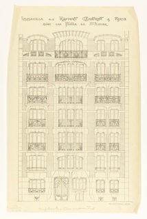 A design for an apartment building in which the central panel of the building has three windows, and the other two side panels have two.