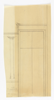 Design for wainscotting for the Exposition des Arts Decoratif, showing a column-like design to the left of a window. Detail of floral motif above left upper corner of window.