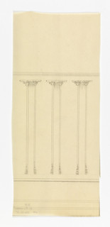 Design for wainscotting for the Exposition des Arts Decoratifs. Design depicts three column-like designs with abstracted floral motifs at tops and bases.