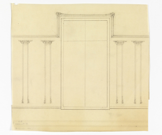 Design for wainscotting for the Exposition des Arts Decoratifs. The design shows a window in the center with decorative moulding at the upper corners. On either side of the window are cloumn-like designs with abstracted floral motifs at the tops and bottoms.
